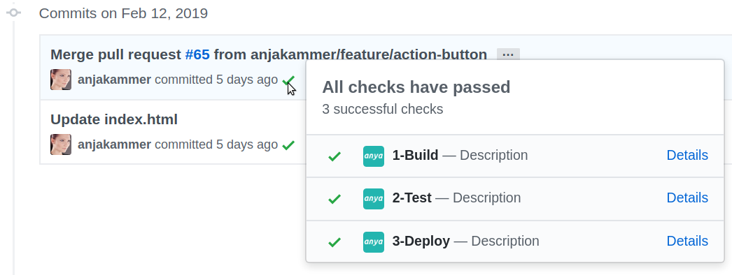 compact Check Suite view on commits